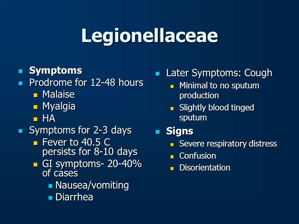 Legionellaceae Symptoms Symptoms Prodrome for 12-48 hours Prodrome for 12-48 hours Malaise Malaise Myalgia Myalgia HA HA Symptoms for 2-3 days Symptom