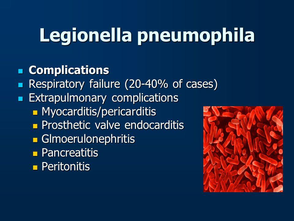 Legionella pneumophila Complications Complications Respiratory failure (20-40% of cases) Respiratory failure (20-40% of cases) Extrapulmonary complica