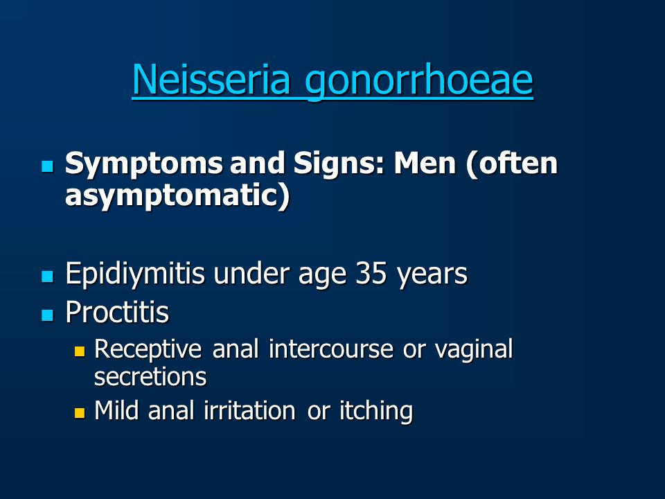 Neisseria gonorrhoeae Neisseria gonorrhoeae Symptoms and Signs: Men (often asymptomatic) Symptoms and Signs: Men (often asymptomatic) Epidiymitis unde