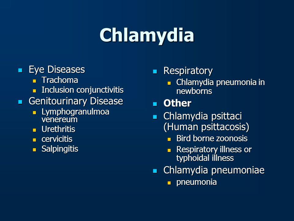 Chlamydia Eye Diseases Eye Diseases Trachoma Trachoma Inclusion conjunctivitis Inclusion conjunctivitis Genitourinary Disease Genitourinary Disease Ly