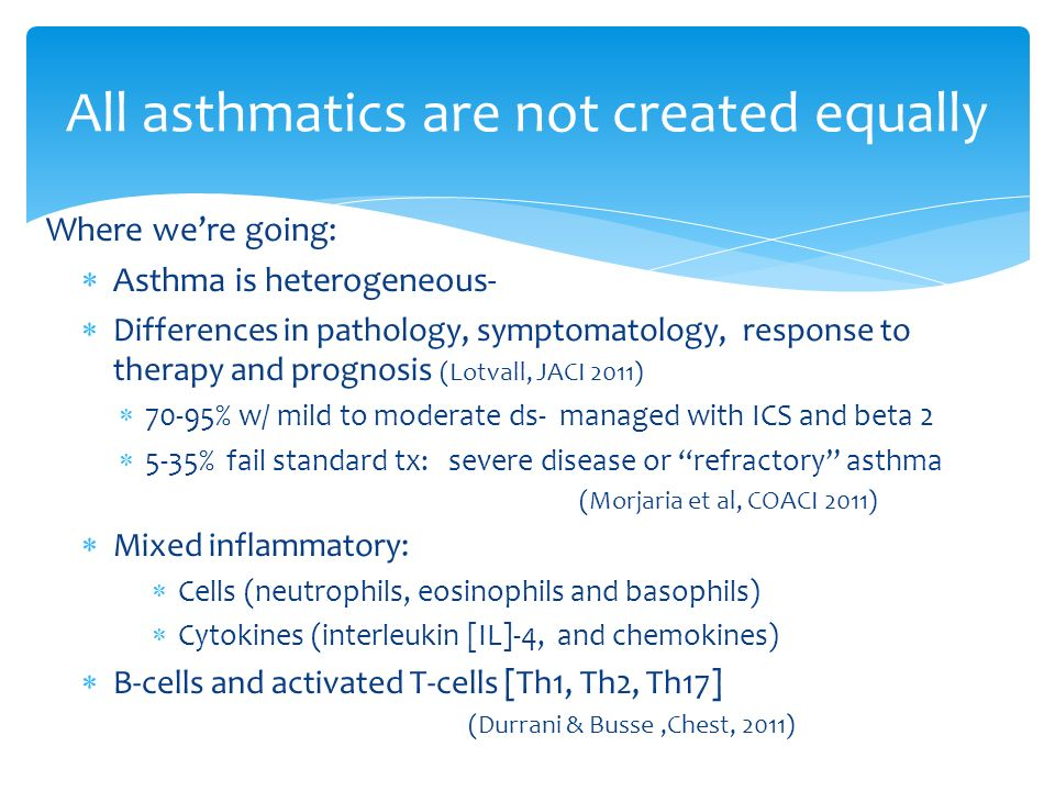 Where were going: Asthma is heterogeneous- Differences in pathology, symptomatology, response to therapy and prognosis (Lotvall, JACI 2011) 70-95% w/