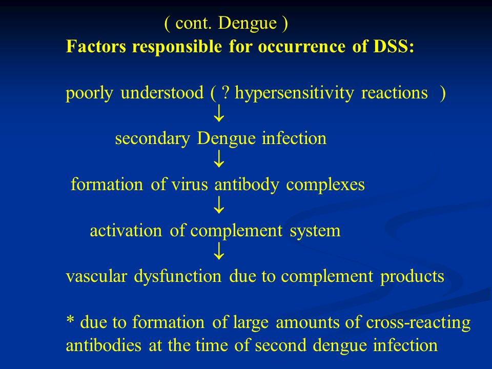 ( cont. Dengue ) Factors responsible for occurrence of DSS: poorly understood ( ? hypersensitivity reactions ) secondary Dengue infection formation of