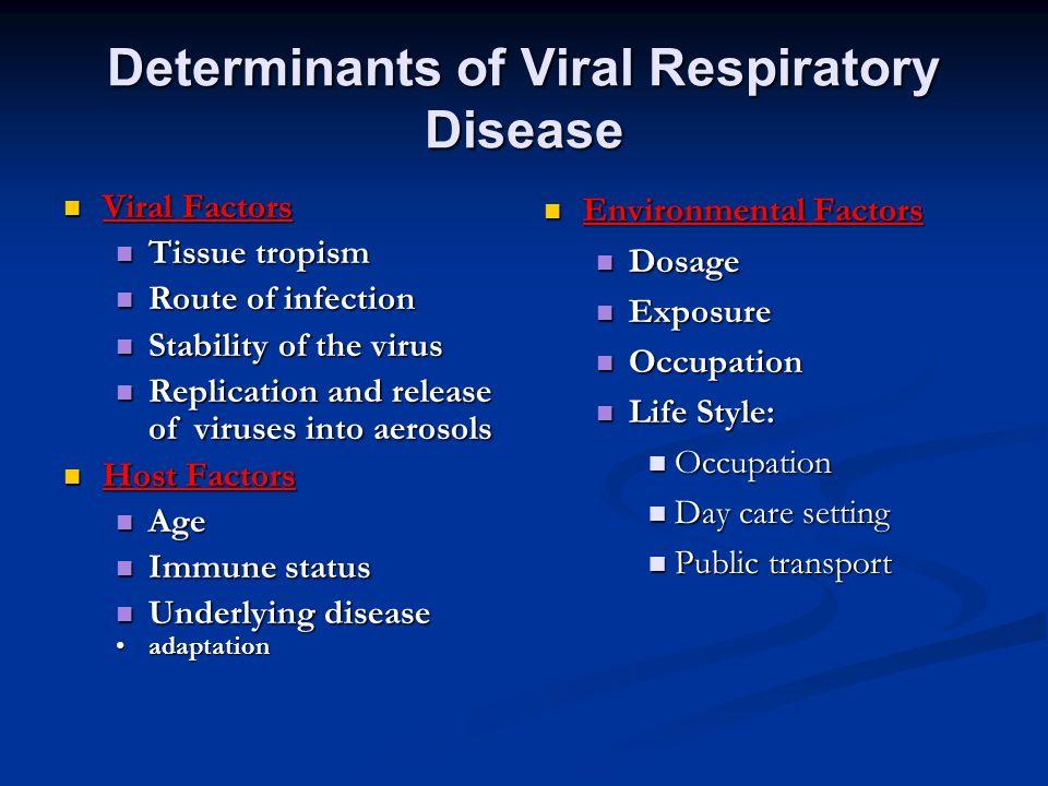 Determinants of Viral Respiratory Disease Viral Factors Viral Factors Tissue tropism Tissue tropism Route of infection Route of infection Stability of