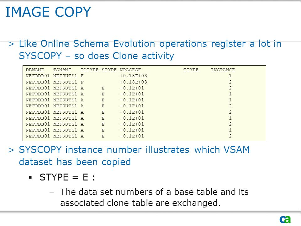 IMAGE COPY >Like Online Schema Evolution operations register a lot in SYSCOPY – so does Clone activity >SYSCOPY instance number illustrates which VSAM