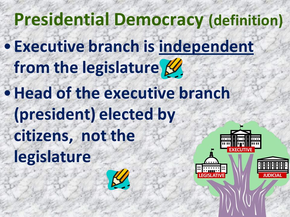 Presidential Democracy (definition) Executive branch is independent from the legislature Head of the executive branch (president) elected by citizens,