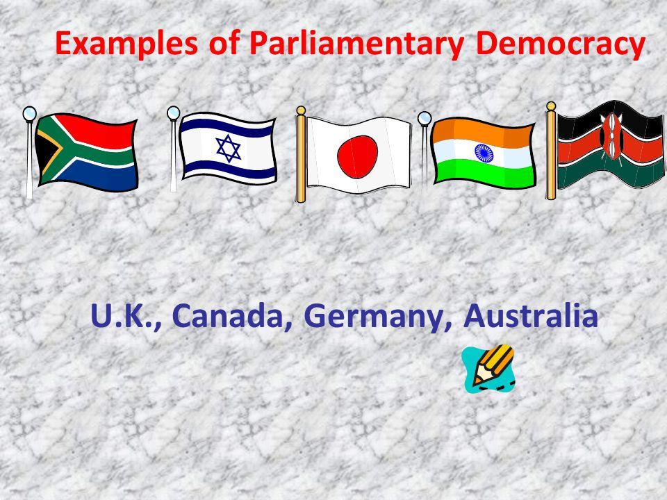 Examples of Parliamentary Democracy U.K., Canada, Germany, Australia