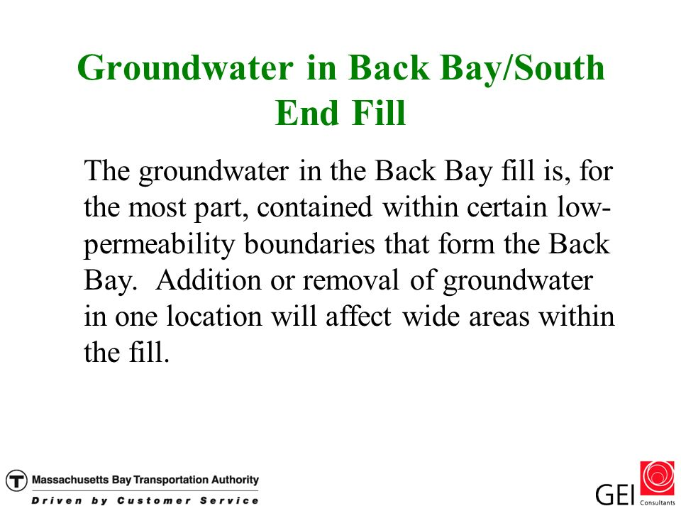 Groundwater in Back Bay/South End Fill The groundwater in the Back Bay fill is, for the most part, contained within certain low- permeability boundaries that form the Back Bay.