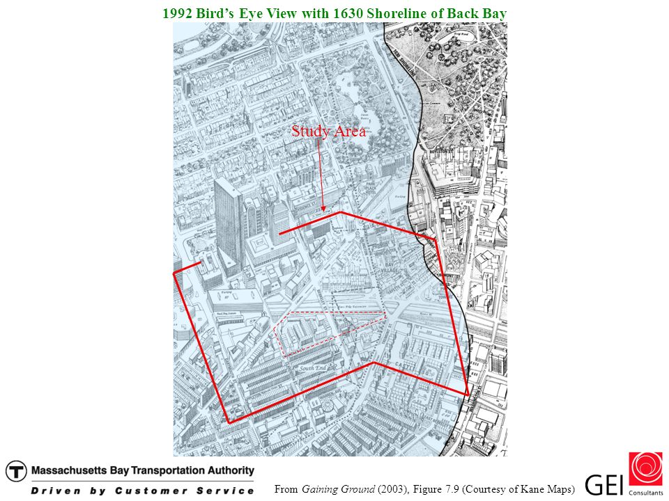 From Gaining Ground (2003), Figure 7.9 (Courtesy of Kane Maps) 1992 Birds Eye View with 1630 Shoreline of Back Bay Study Area