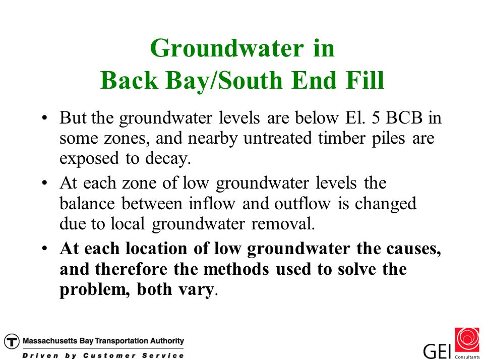 Groundwater in Back Bay/South End Fill But the groundwater levels are below El.