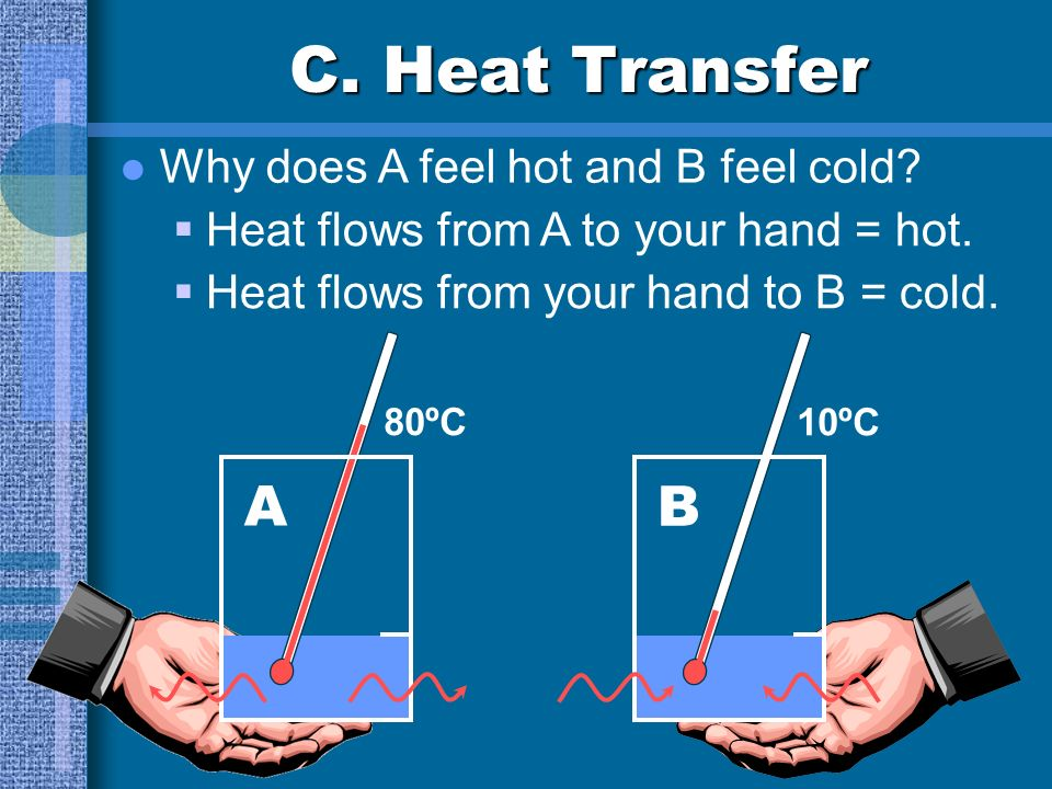 C. Heat Transfer Heat thermal energy that flows from a warmer material to a cooler material Like work W=F x d, heat is... S.I. unit is Calories Often