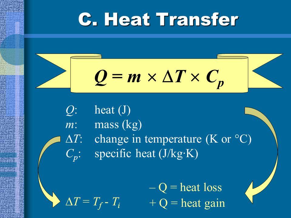 C. Heat Transfer Which sample will take longer to heat to 100°C? 50 g Al50 g Cu Al - It has a higher specific heat. Al will also take longer to cool d