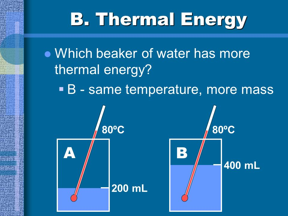 B. Thermal Energy Thermal Energy the total energy of the particles in a material KE - movement of particles PE - forces within or between particles du