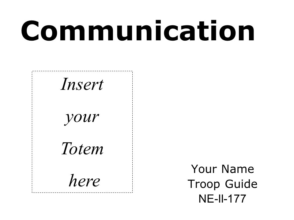 NE-II-177 Ways to Assure Good Communication Common Ground: An important point of the Who-Me Game last evening was to learn something about the people in your patrol.