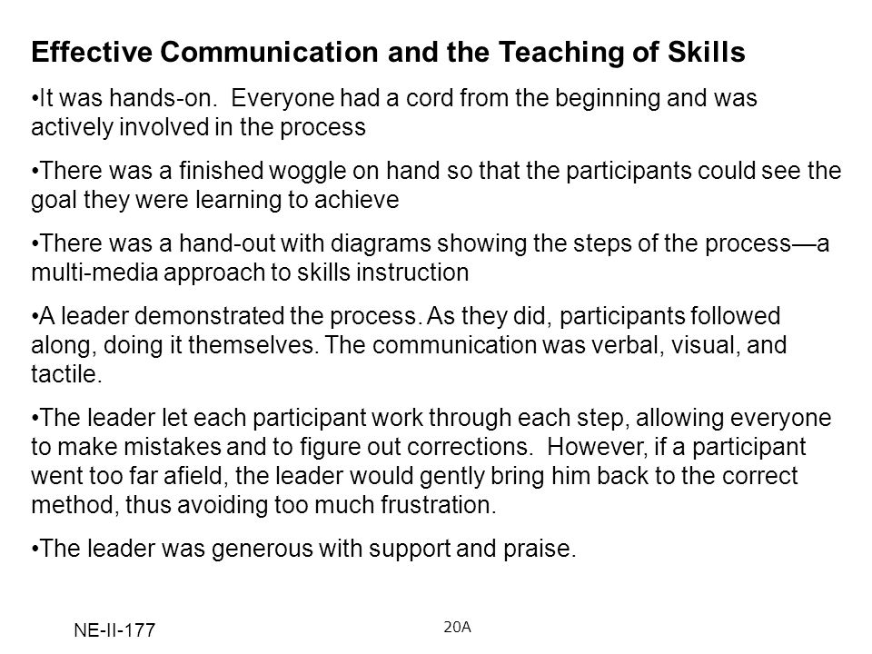 NE-II-177 Effective Communication and the Teaching of Skills It was hands-on. Everyone had a cord from the beginning and was actively involved in the