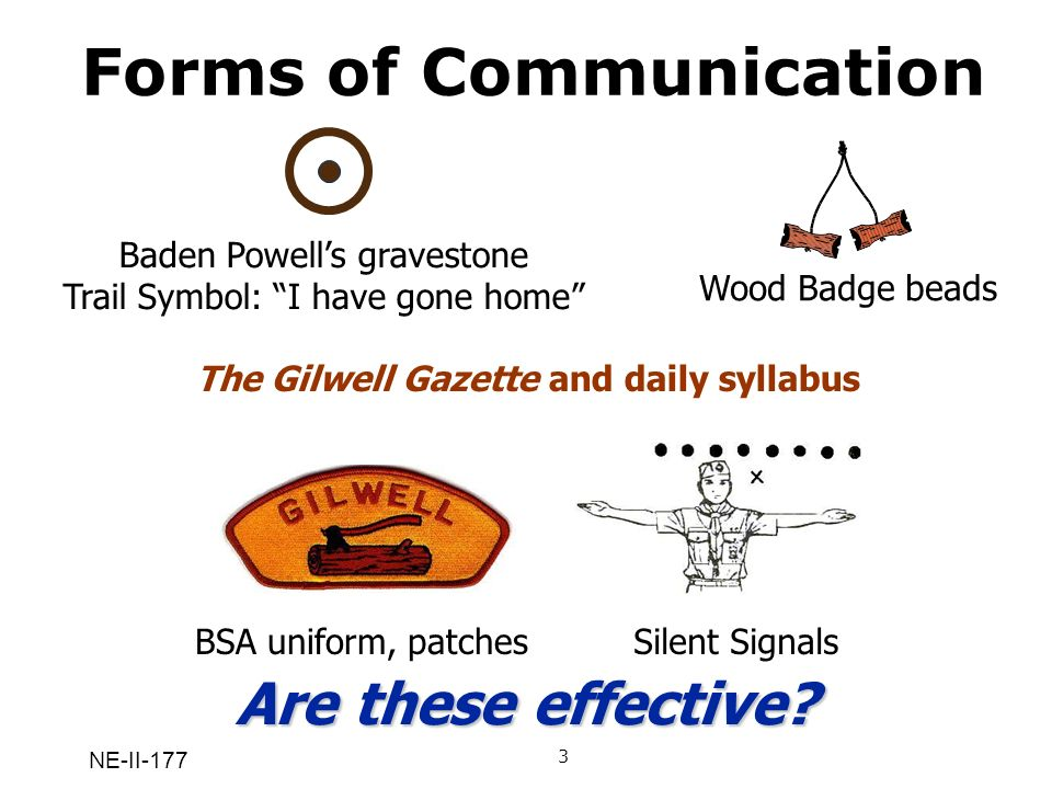 NE-II-177 Forms of Communication Gilwell song The circle with the dot in it…on Baden-Powells gravestone (the trail symbol for I have gone home BSA uniform, patches, Wood Badge beads Wood Badge icon The Gilwell Gazette, Wood Badge newspaper, including the schedule of the day Q: What do these forms of communication have in common.