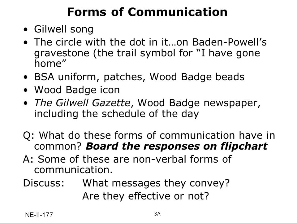 NE-II-177 Effective Communication and the Teaching of Skills 19 How did we use effective communication to teach you how to make your woggle?