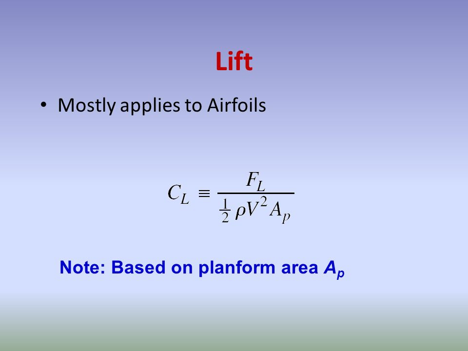 Lift Mostly applies to Airfoils Note: Based on planform area A p
