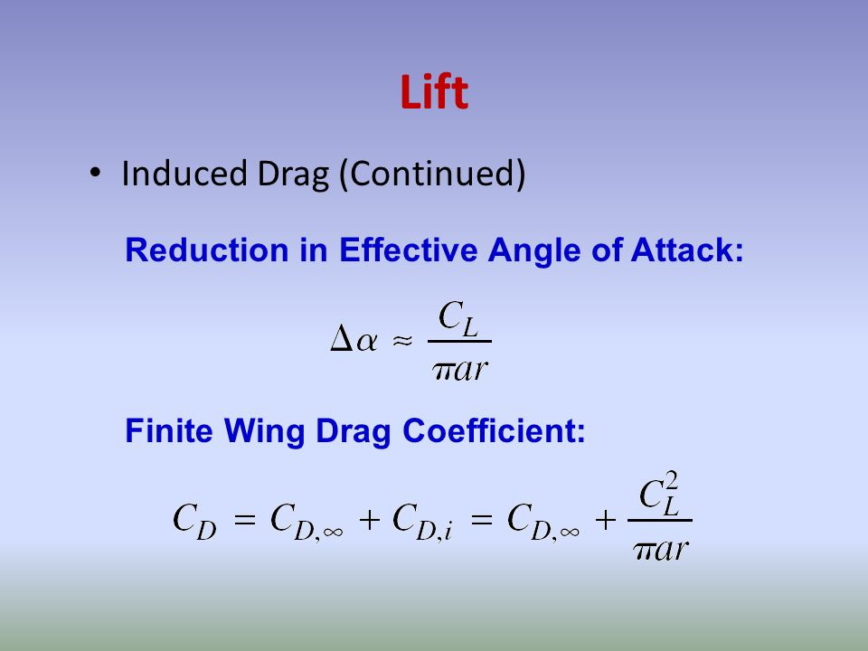 Lift Induced Drag (Continued) Reduction in Effective Angle of Attack: Finite Wing Drag Coefficient: