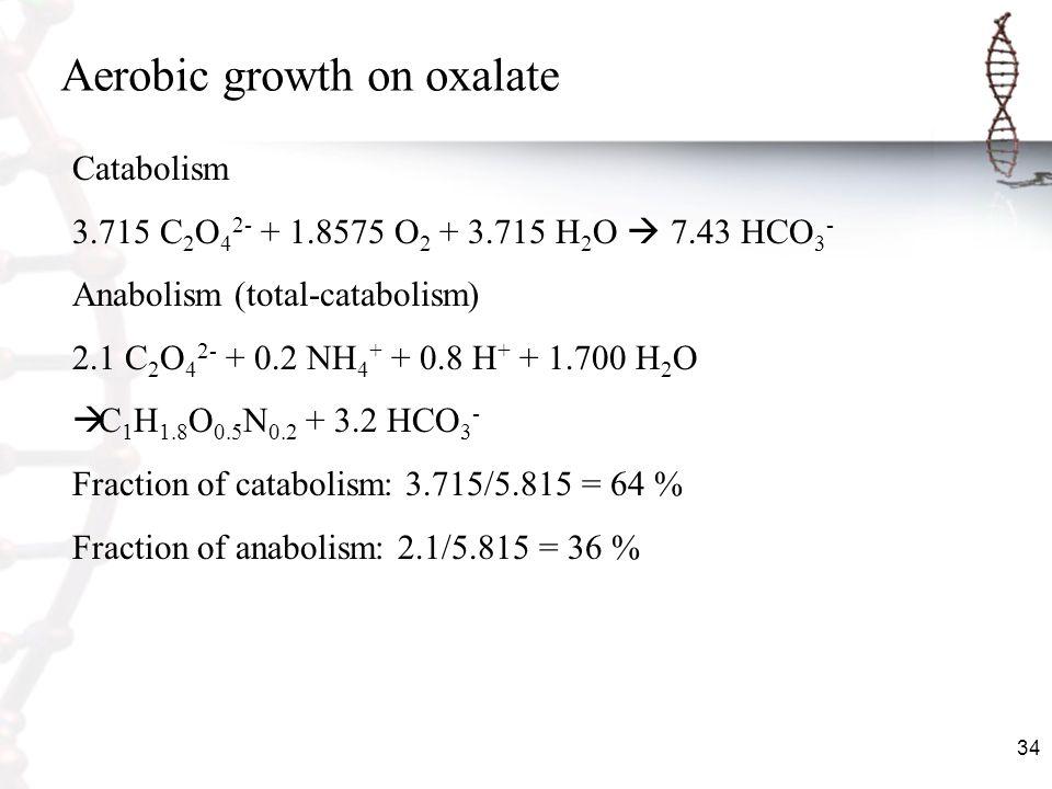 34 Aerobic growth on oxalate Catabolism 3.715 C 2 O 4 2- + 1.8575 O 2 + 3.715 H 2 O 7.43 HCO 3 - Anabolism (total-catabolism) 2.1 C 2 O 4 2- + 0.2 NH
