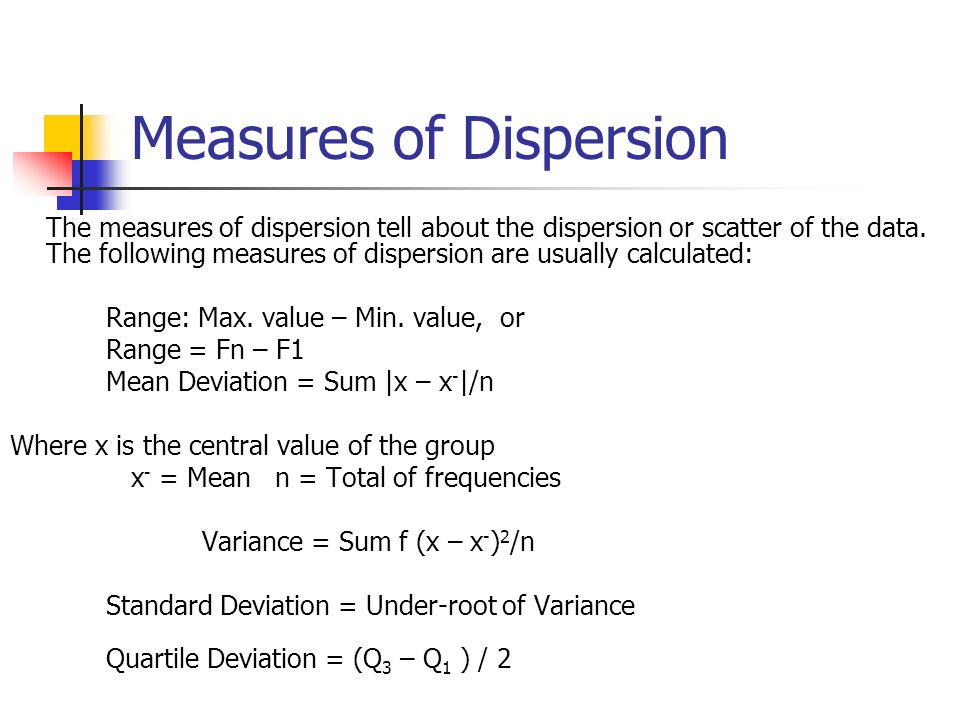Measures of Dispersion The measures of dispersion tell about the dispersion or scatter of the data. The following measures of dispersion are usually c