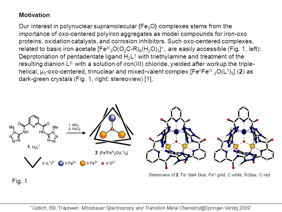 Motivation Our interest in polynuclear supramolecular {Fe 3 O} complexes stems from the importance of oxo-centered polyiron aggregates as model compounds for iron-oxo proteins, oxidation catalysts, and corrosion inhibitors.