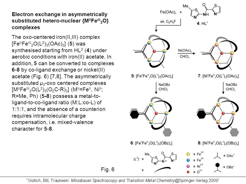 Electron exchange in asymmetrically substituted hetero-nuclear {M II Fe III 2 O} complexes The oxo-centered iron(II,III) complex [Fe II Fe III 2 O(L 2