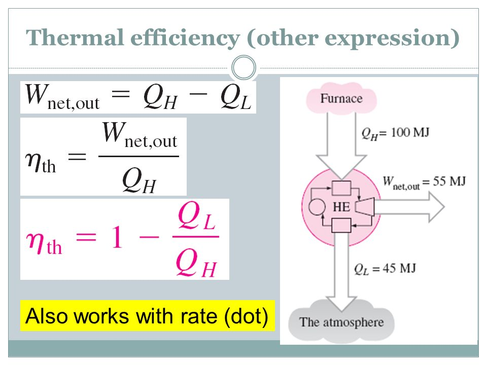 Thermal efficiency (other expression) Also works with rate (dot)