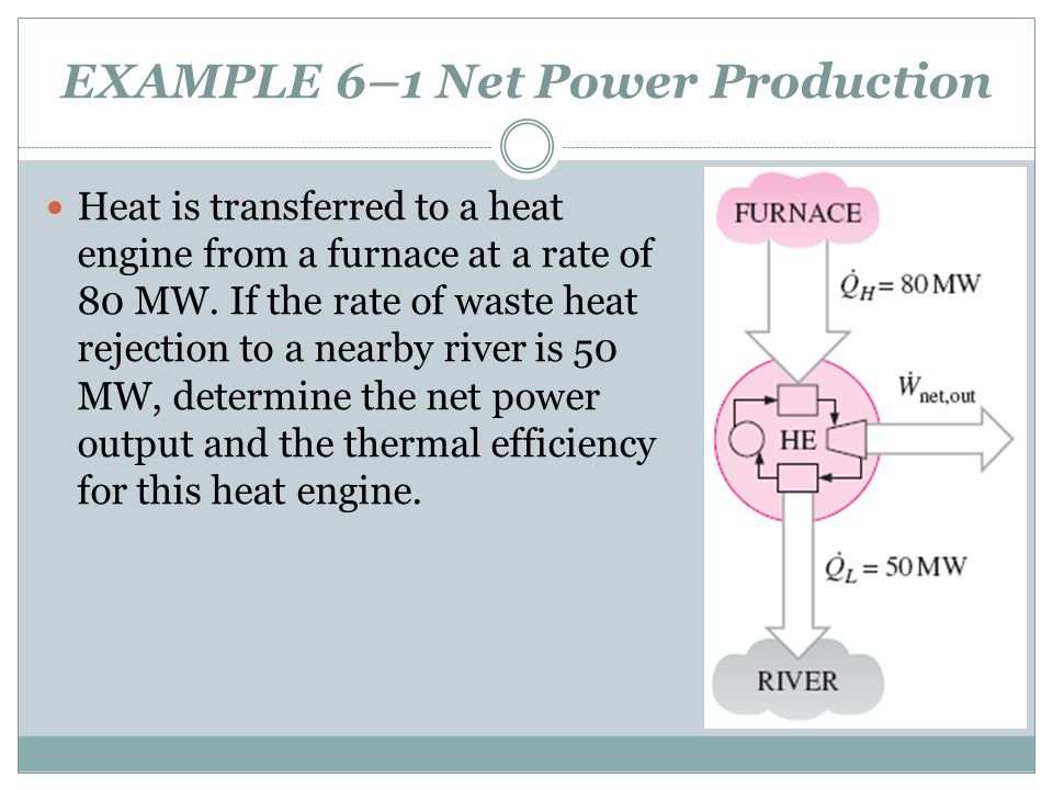EXAMPLE 6–1 Net Power Production Heat is transferred to a heat engine from a furnace at a rate of 80 MW. If the rate of waste heat rejection to a near