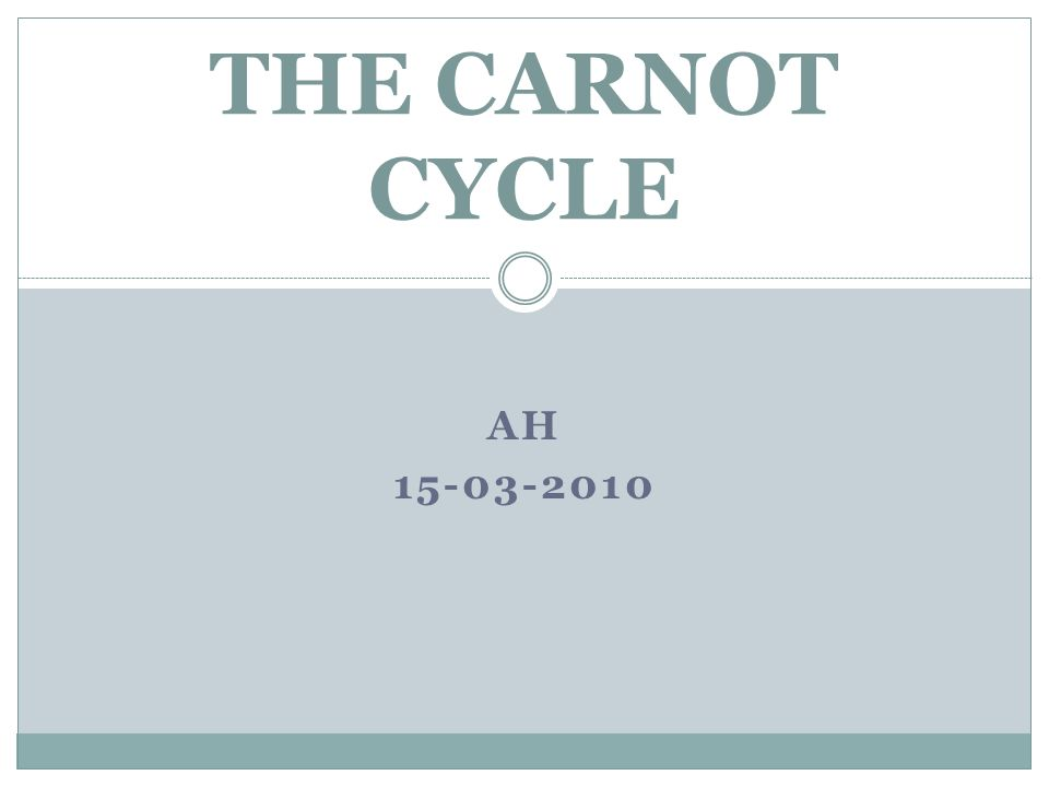 AH 15-03-2010 THE CARNOT CYCLE