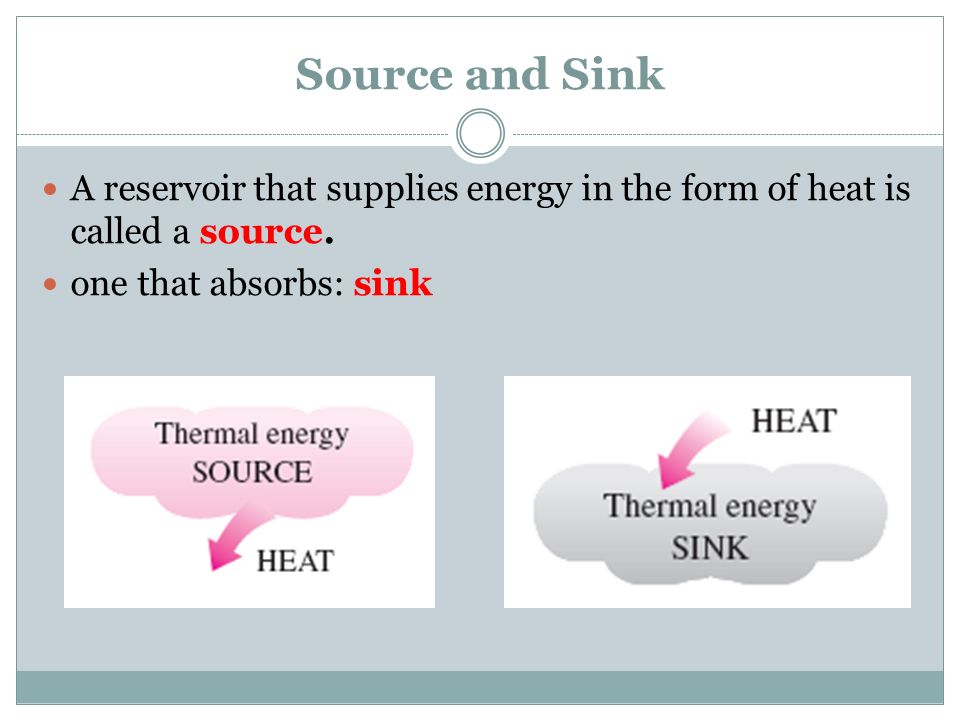 Source and Sink A reservoir that supplies energy in the form of heat is called a source. one that absorbs: sink