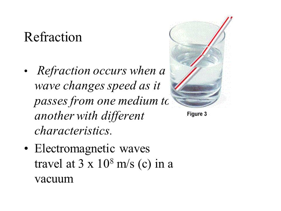 Refraction Refraction occurs when a wave changes speed as it passes from one medium to another with different characteristics. Electromagnetic waves t