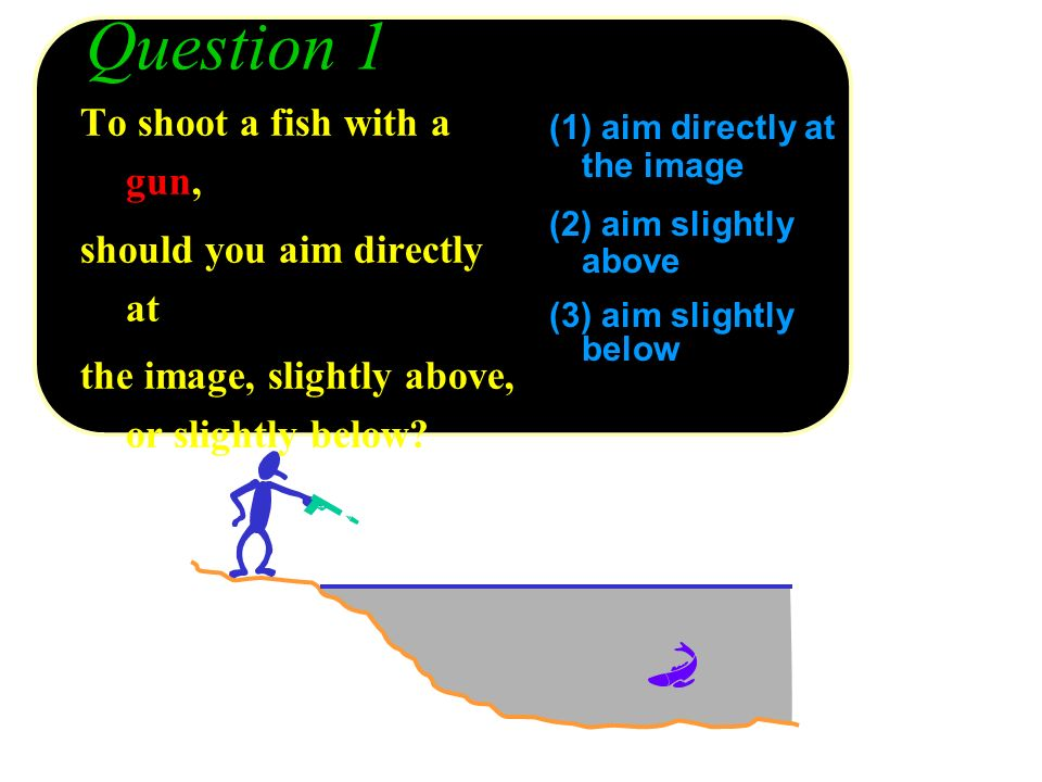 Question 1 (1) aim directly at the image (2) aim slightly above (3) aim slightly below To shoot a fish with a gun, should you aim directly at the imag