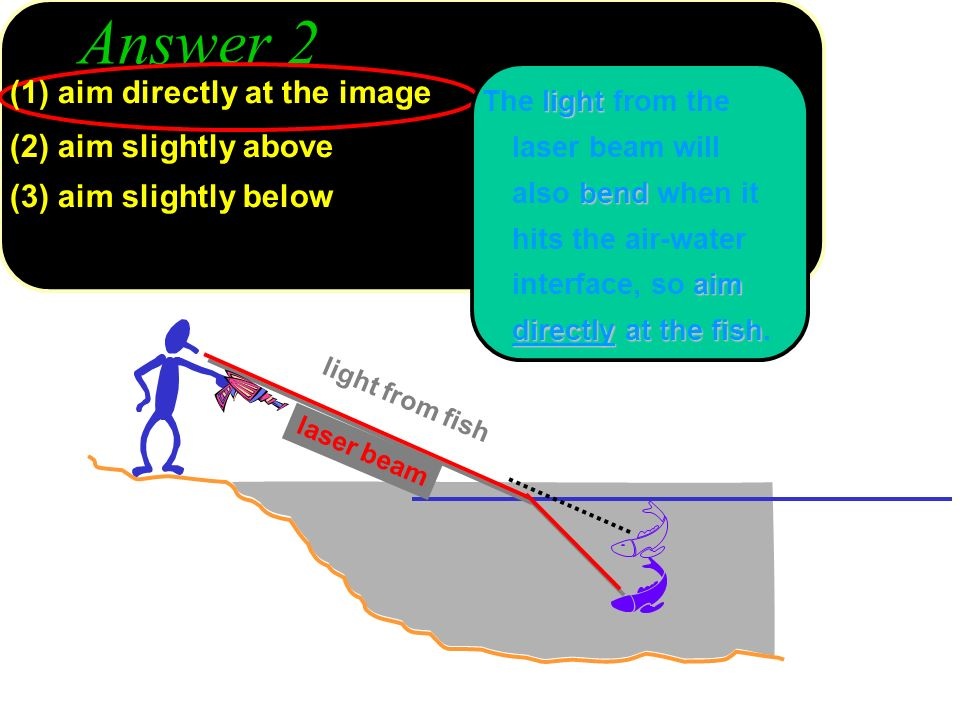 Answer 2 light from fish laser beam (1) aim directly at the image (2) aim slightly above (3) aim slightly below light bend aim directly at the fish Th