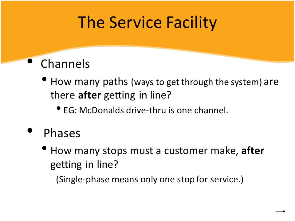 The Service Facility Channels How many paths (ways to get through the system) are there after getting in line? EG: McDonalds drive-thru is one channel
