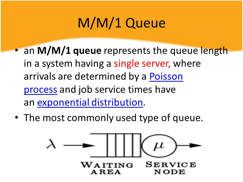 M/M/1 Queue an M/M/1 queue represents the queue length in a system having a single server, where arrivals are determined by a Poisson process and job