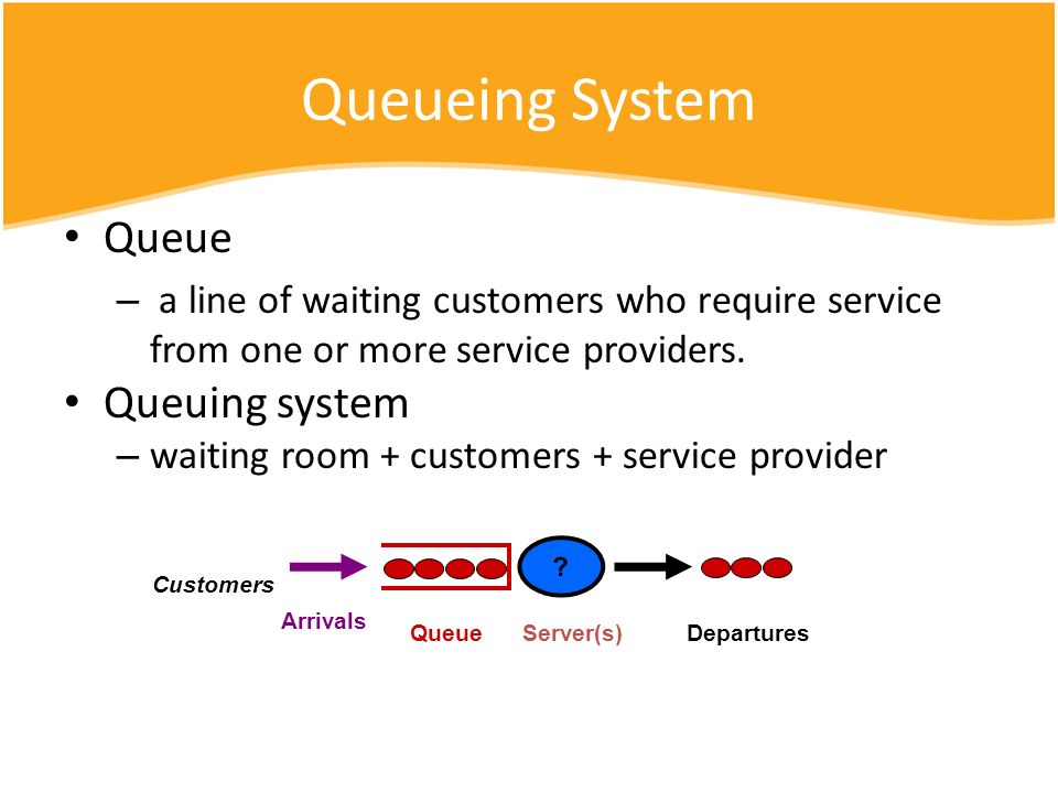Queueing System Queue – a line of waiting customers who require service from one or more service providers. Queuing system – waiting room + customers