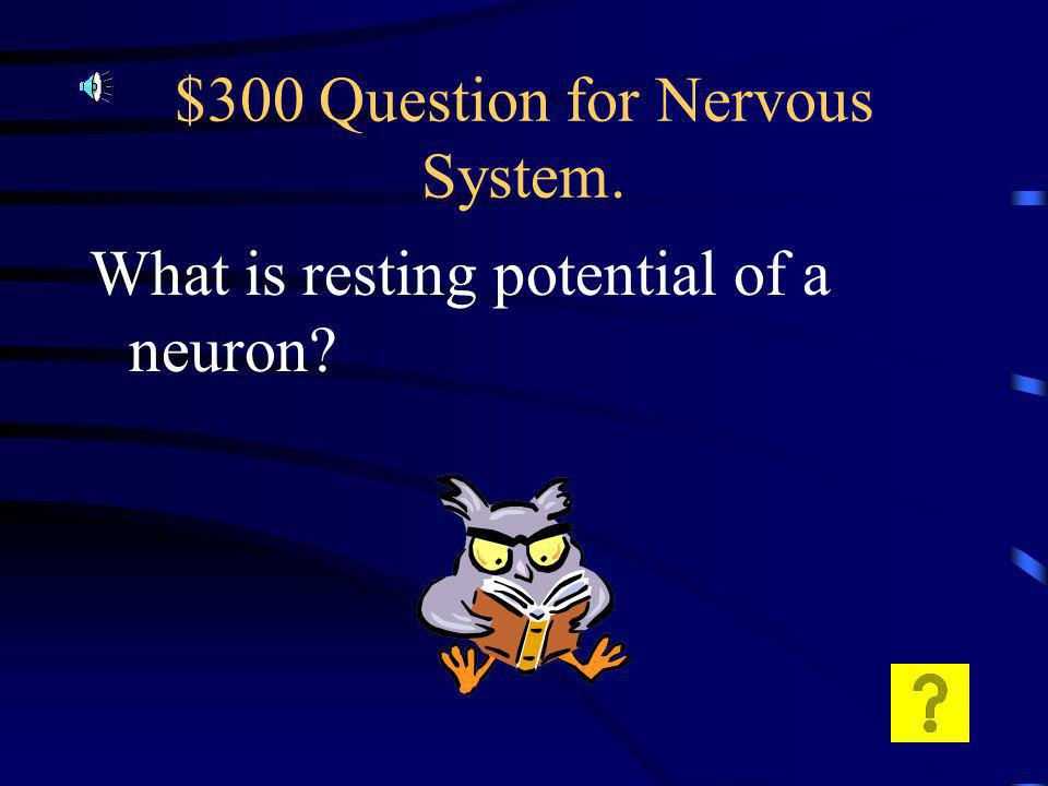 $200 Answer for Nervous System. Are gaps in the myelin sheath that are used to speed up the impulse