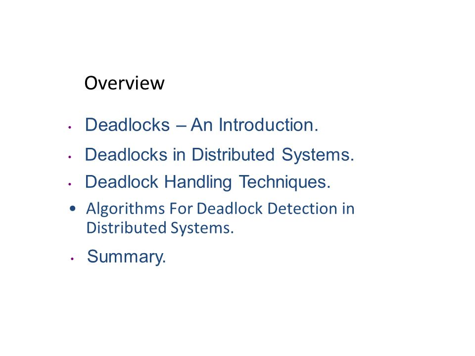 DEADLOCK DETECTION ALGORITHMS IN DISTRIBUTED SYSTEMS Advanced Operating System