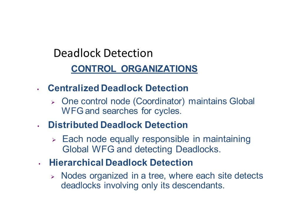 Handling Deadlocks Deadlock Detection Resource allocation with an optimistic outlook. Periodically examine process status. Detect then break the Deadl