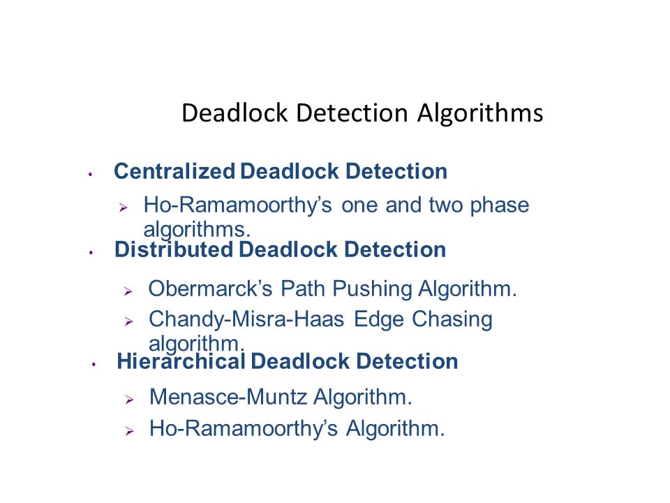 Deadlock Detection Centralized Deadlock Detection One control node (Coordinator) maintains Global WFG and searches for cycles. Distributed Deadlock De