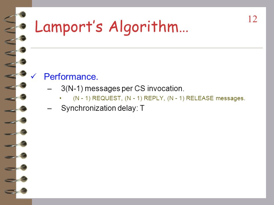 Lamports Algorithm Requesting CS: –Send REQUEST(tsi, i). (tsi,i): Request time stamp. Place REQUEST in request_queuei. –On receiving the message; sj s