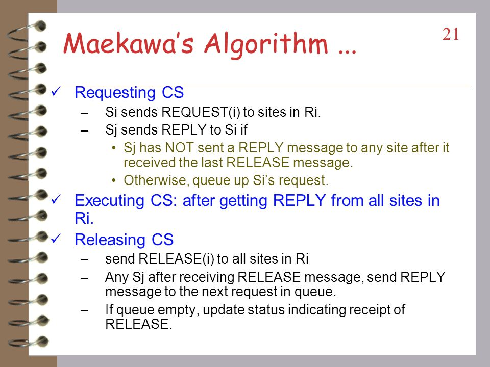 Maekawas Algorithm A site requests permission only from a subset of sites.