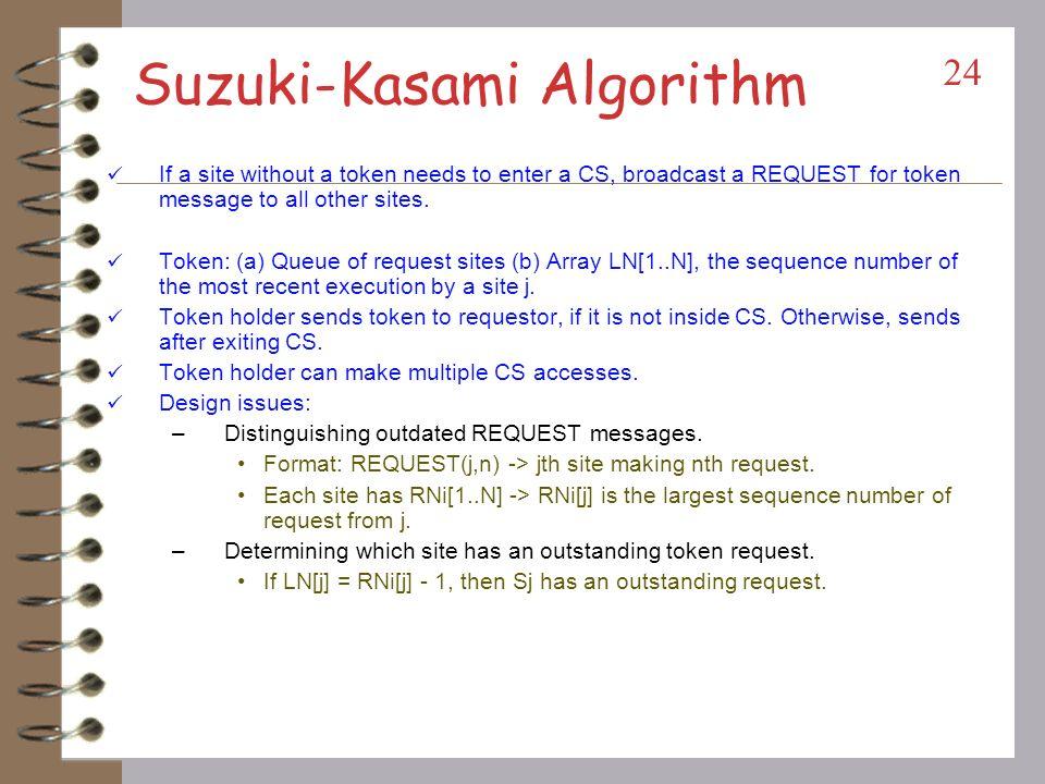 Token-based Algorithms Unique token circulates among the participating sites.