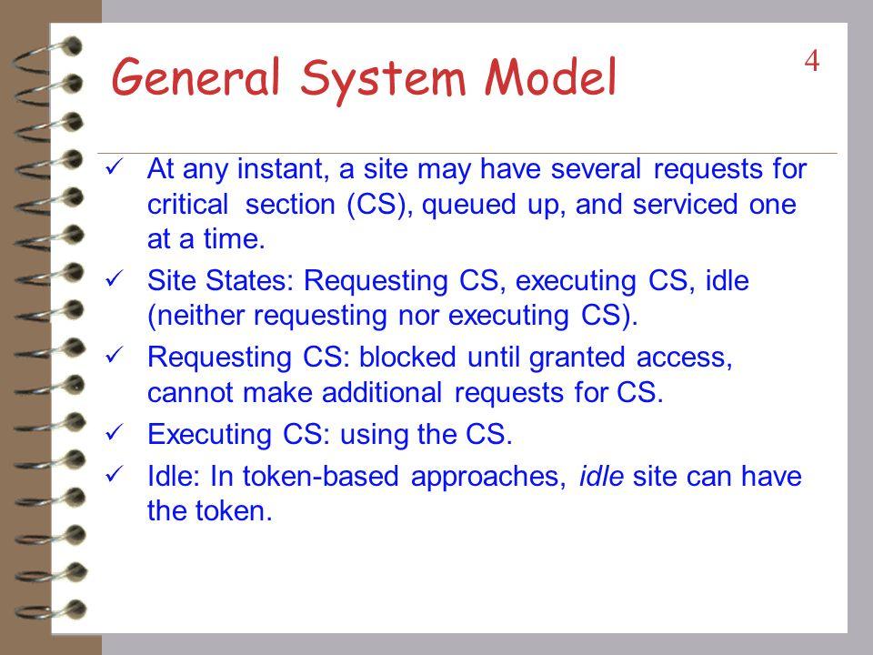 Mutual Exclusion Algorithms 3 Non-token based: A site/process can enter a critical section when an assertion (condition) becomes true.