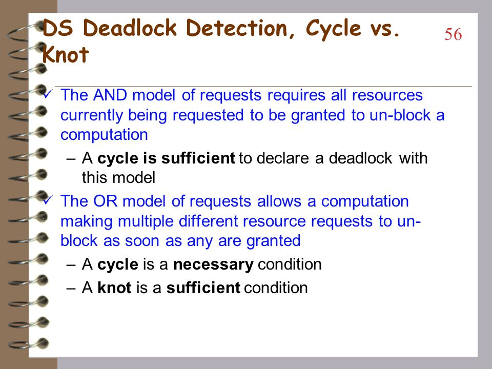 DS Deadlock Detection Bi-partite graph strategy modified –Use Wait For Graph (WFG or TWF) All nodes are processes (threads) Resource allocation is done by a process (thread) sending a request message to another process (thread) which manages the resource (client - server communication model, RPC paradigm) –A system is deadlocked If and only if there is a directed cycle (or knot) in a global WFG 55 Tulika Ringan (AL_IT)