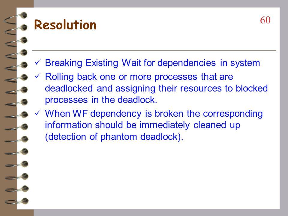 DS Detection Requirements Progress –No undetected deadlocks All deadlocks found Deadlocks found in finite time Safety –No false deadlock detection Phantom deadlocks (false) caused by network latencies Principal problem in building correct DS deadlock detection algorithms 59