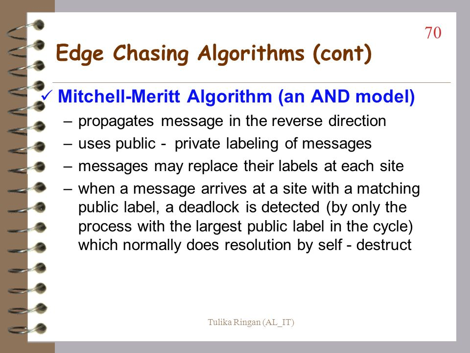 Chandy-Misra-Haas Algorithm 69 P8 P10 P9 P7 P6 P5 P4 P3P3 P2 P1 Probe (1, 3, 4) Probe (1, 7, 10) Probe (1, 6, 8) Probe (1, 9, 1) S1 S3 S2 P1 launches Tulika Ringan (AL_IT)