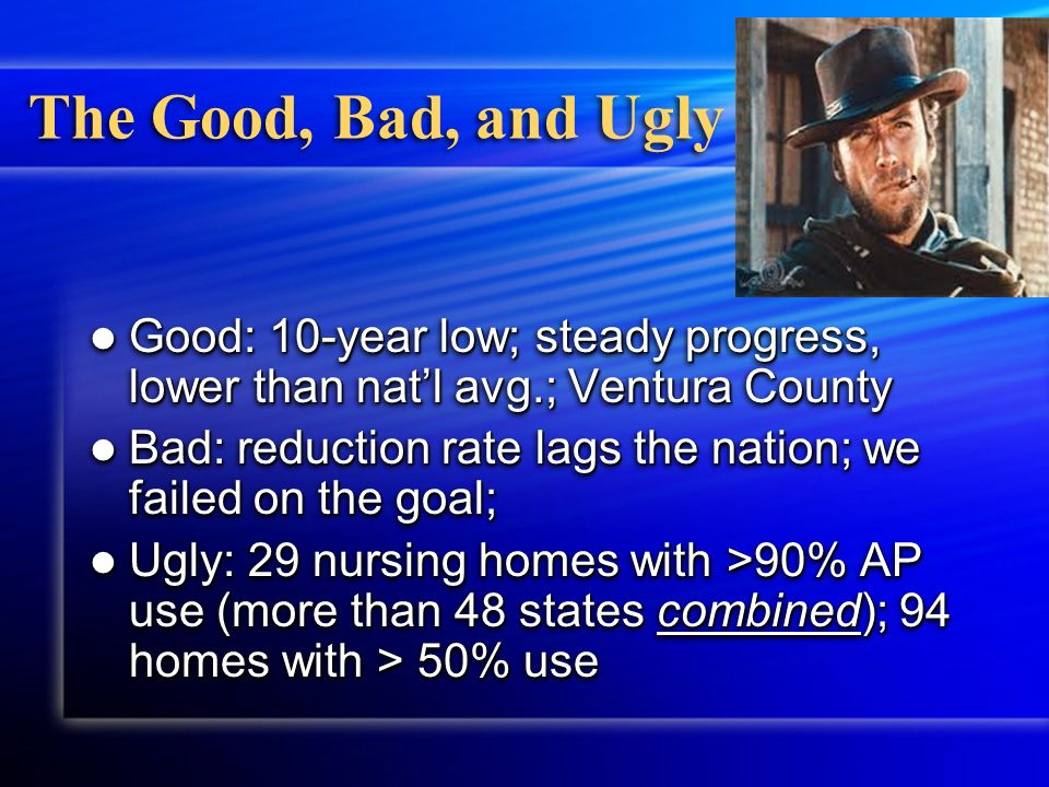 The Good, Bad, and Ugly Good: 10-year low; steady progress, lower than natl avg.; Ventura County Good: 10-year low; steady progress, lower than natl avg.; Ventura County Bad: reduction rate lags the nation; we failed on the goal; Bad: reduction rate lags the nation; we failed on the goal; Ugly: 29 nursing homes with >90% AP use (more than 48 states combined); 94 homes with > 50% use Ugly: 29 nursing homes with >90% AP use (more than 48 states combined); 94 homes with > 50% use Good: 10-year low; steady progress, lower than natl avg.; Ventura County Good: 10-year low; steady progress, lower than natl avg.; Ventura County Bad: reduction rate lags the nation; we failed on the goal; Bad: reduction rate lags the nation; we failed on the goal; Ugly: 29 nursing homes with >90% AP use (more than 48 states combined); 94 homes with > 50% use Ugly: 29 nursing homes with >90% AP use (more than 48 states combined); 94 homes with > 50% use