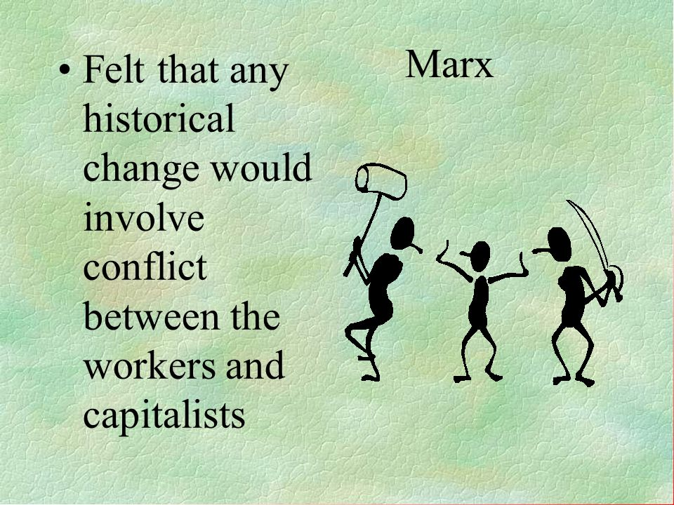 Marx- Concerned with class conflict Worker v. Capitalist