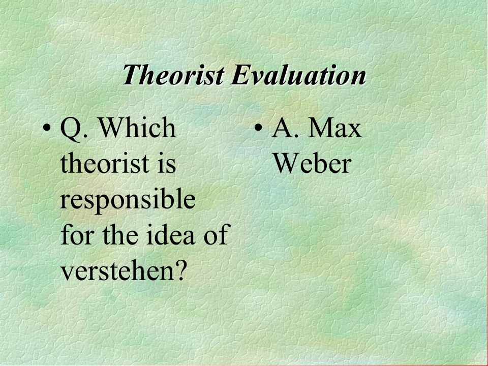 Theorist Evaluation Q. Which theorist is responsible for the idea of verstehen?